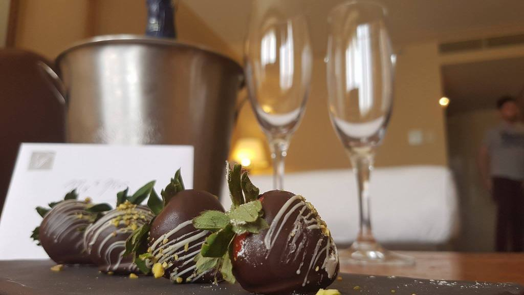Welcome to Canada - honeymoon gift from fairmont chateau whistler - wine, chocolate and cards