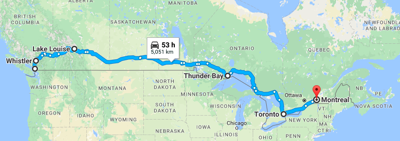 Vancouver to Montreal, maybe not the best honeymoon plan.